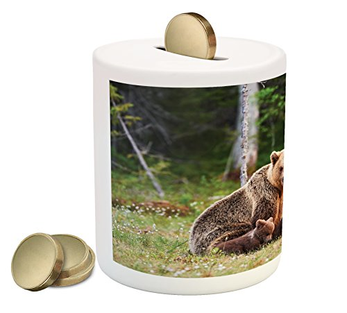 Mother Grizzly Bear - Lunarable Nature Piggy Bank, Wild Mother Grizzly Bear Protecting Her Babies in Forest Jungle Animal Print, Printed Ceramic Coin Bank Money Box for Cash Saving, Green and Brown