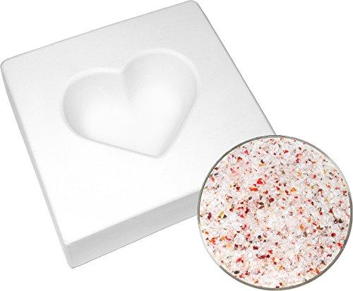 Heart Mold and Designer Medium Frit Kit - 90COE - Bullseye Glass Fusible Glass Frit Casting Mold