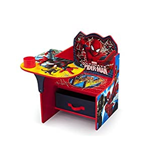 Delta Children Chair Desk with Storage Bin - Ideal for Arts & Crafts, Snack Time, Homeschooling, Homework & More, Marvel Spider-Man