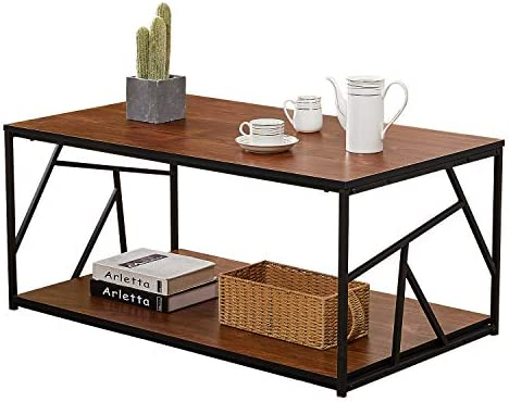 VECELO Double Storage Space Wooden Side End Table with Black Metal Frame 40in , Cocktail, Brown