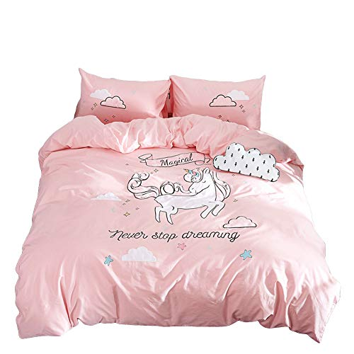 """Price comparison product image Anjos Unicorn Sky Pink Children Cartoon Style Applique Duvet Cover Set Embroidery Bed Cover Queen Size 86""""x94""""(220x240cm)"""