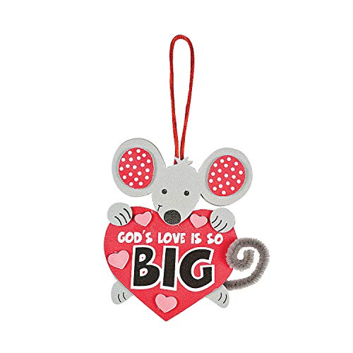 Fun Express - Gods Love is So Big Mouse ck for Valentine's Day - Craft Kits - Hanging Decor Craft Kits - Sign Decoration Craft Kits - Valentine's Day - 12 Pieces