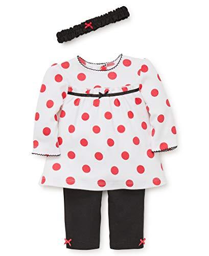 Little Me Baby Girls Tunic Set, Polka dot White/Black/Rouge red, 9 ()