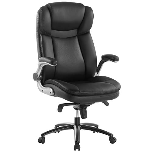TOPSKY Executive Office Chair Large Leather Chair FILP Up Armrest Recline Locking Mechanism Memory Foam Seat(Black)