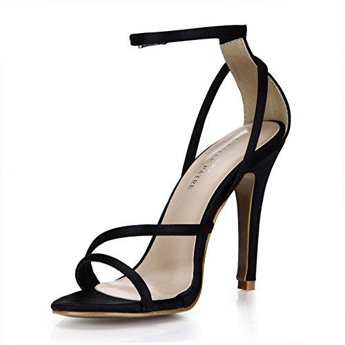 verano bombas correas cremallera de seda tacón de la de de de goma cruzadas alto de oro Best suela una 10CM las de de mujeres hebilla 4U® Sandalias zapatos imitación EU35 Black básicas de plata OvqvptP