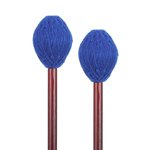 Medium Soft Marimba Mallets - Frienda 1 Pair Medium Hard Yarn Head Keyboard Marimba Mallets with Maple Handles (Blue)