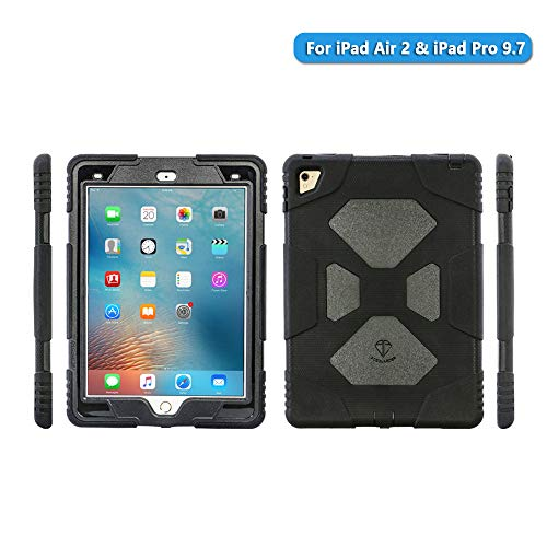 iPad Air 2 case iPad Pro 9.7 Case for Kids Full Body Heavy Duty Shockproof Cover Case with Removable Kickstand & Built-in Screen Protector for Apple iPad Air 2 iPad Pro 9.7 (2016) (Black)