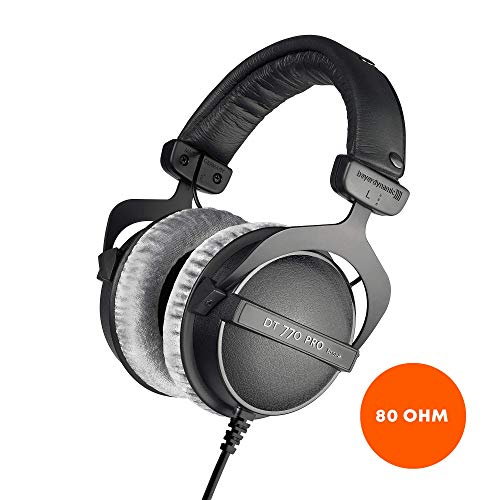 beyerdynamic DT 770 PRO 80 Ohm Over-Ear Studio Headphones in black. Enclosed design, wired for professional recording…