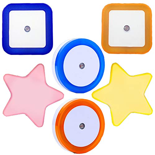 Kitchen Night Light Plug-in with Light-Operated Sensor Auto Switch,Night Light Led,Night Light Fruit for Bedroom,Hallway,Kitchen,Square Round Star Shape Different Colors in 6-Pack
