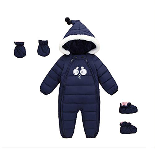84fd138b1b37b Digirlsor Baby Toddler Winter Hooded One Piece Snowsuit Zipper Onesie Cute  Romper Jumpsuit+Gloves+Shoes
