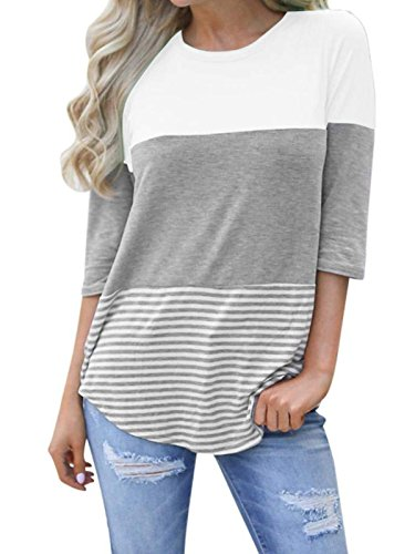 (kigod Womens Striped Color Block Loose T-Shirt Blouses Back Lace 3/4 Sleeve Tops Tee Shirts (White, XX-Large))