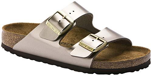 Birkenstock Women's, Arizona Birko-Flor Sandals - Narrow Width Taupe Metallic 36 M (Grey Birkenstock Sandals Women)