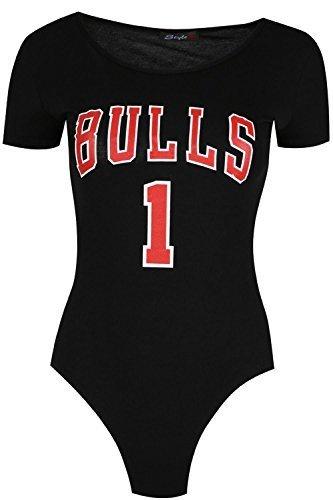 Damen Stier 1 Bedruckt Dehnbar USA Uni Shorts Flügelärmel Body Jersey UK  Größen 8-14