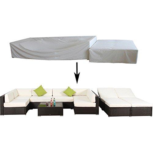 Broyerk Waterproof Rain Cover Outdoor Sofa Rattan Set (9 piece), Cream