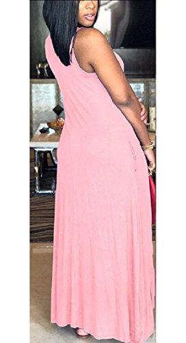 Jaycargogo Sans Manches Col Ras Du Cou Des Femmes Asymmectric Haute Rose Faible Robe Maxi