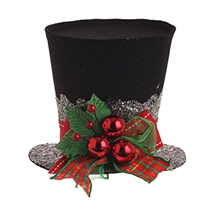 raz imports holly top hat 5 - Top Hat Christmas Decorations