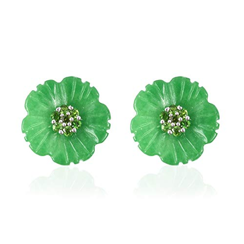 Stud Solitaire Earrings 925 Sterling Silver Green Jade Chrome Diopside Jewelry for Women