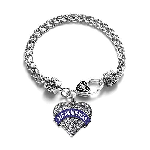 Inspired Silver - ALS Awareness Braided Bracelet for Women - Silver Pave Heart Charm Bracelet with Cubic Zirconia Jewelry -