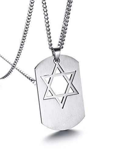 (PJ Jewelry Mens Stainless Steel Star of David Jewish Religious Symbol Hexagram Dog Tag Pendant Necklace)