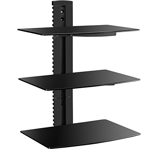 WALI Floating Wall Mounted Shelf with Strengthened Tempered Glasses for DVD Players/Cable Boxes/Games Consoles/TV Accessories (CS303), 3 Shelf, (Wall Mounted Adjustable Speaker Bracket)
