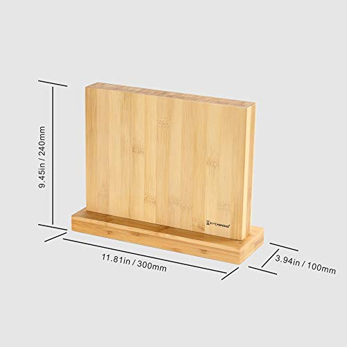 Luxury Magnetic Knife Block Holder with Enhanced Magnets, Eco-friendly Bamboo, Knife Organizer Block, Knife Dock, Cutlery Display Stand and Storage Rack, Large Capacity, Easy to Reach, Easy to Clean by KITCHENDAO (Image #6)