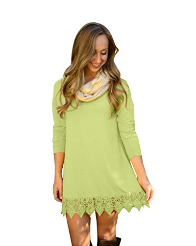 ReachMe Womens Long Sleeve Casual Dress Lace Trim Super Soft A Line Tunic Dress