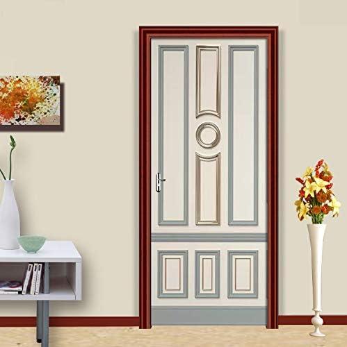 libby-nice PVC Autoadhesivo Etiqueta De La Puerta Europea Gold Decor Lattice Wallpaper Sala De Estar Dormitorio Decoración del Hogar Calcomanías para Puertas Papel De Parede77X200Cm: Amazon.es: Hogar