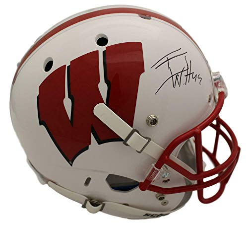 TJ Watt Autographed/Signed Wisconsin Badgers Schutt White Replica Helmet JSA (Riddell Wisconsin Badgers Replica Helmet)