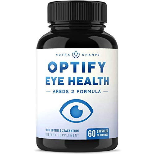 Eye Vitamins with Lutein and Zeaxanthin – AREDS 2 Formula for Macular Degeneration, Strain, Dry Eyes & Vision Support – Optify Eye Health Ocular Care Supplement with Omega 3 Powder & Bilberry Extract