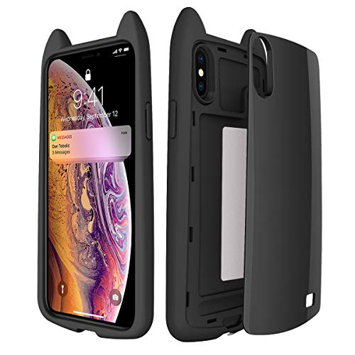 Sahiyeah for iPhone X/Xs Case, Clear Hybrid Protective Case Slim PC+TPU Hard Case Cat Ear Shape Smooth Shockproof DropProof Cover Compatible for iPhone Xs 2018, iPhone X 2017 5.8 Inch, Black