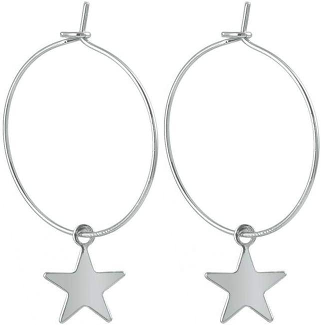 Bobury Pendientes Plateado Perforada de la Estrella del aro de aleación geométrico Gota Colgante Que cuelga Gota para el oído joyería y Accesorios