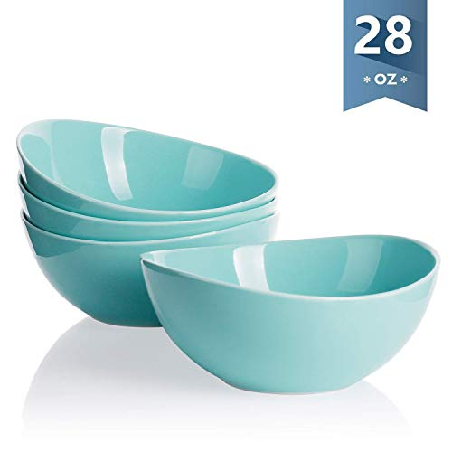 - Sweese 1137 Porcelain Bowls - Set of 4-28 Ounce for Cereal, Salad and Desserts, Turquoise