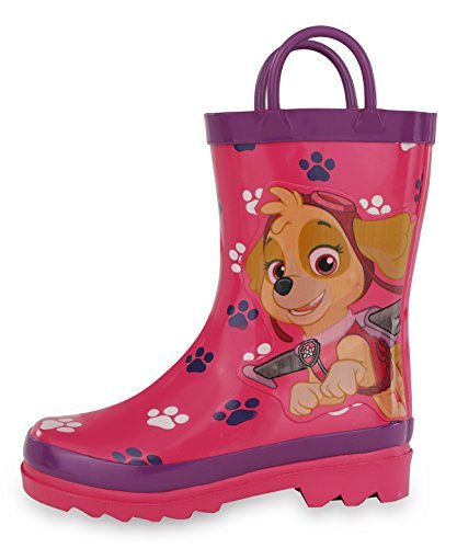368c932c4aa Nickelodeon Kids Girls  Paw Patrol Character Printed Waterproof Easy-On  Rubber Rain Boots (