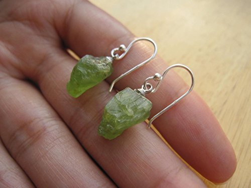 Raw Peridot earrings,E42,925 sterling silver ear wire,Drop length = 26 mm,Peridot drop earrings,Peridot - Peridot Raw