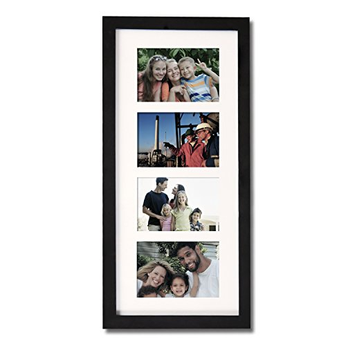 Adeco [PF0426] Decorative Black Wood Wall Hanging Picture Photo Frame with White Mat, 4 Openings, 3.5x5 inches (Post Card Frame)