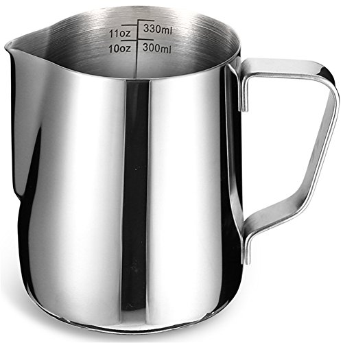 Milk Frothing Pitcher with Measurement Markings | IdealHouse 12oz / 350ml Stainless Steel Jug Cup for Barista Cappuccino Espresso Machine Coffee Cafe Latte Maker Art by IdealHouse