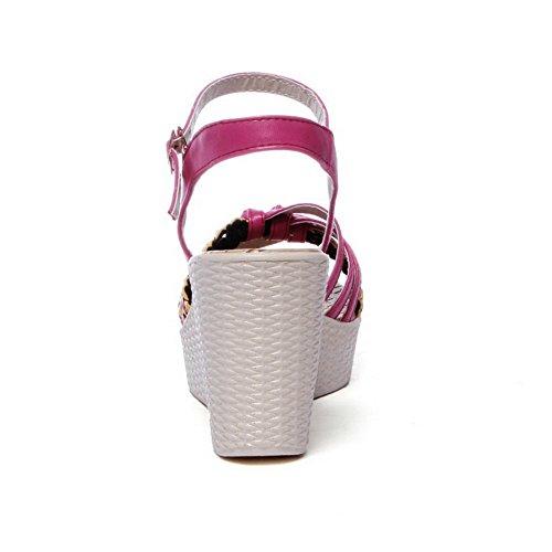 rosa Agoolar sandalo pelle Buckle in Toe colori Open Women assortiti Platform OOwrTvq