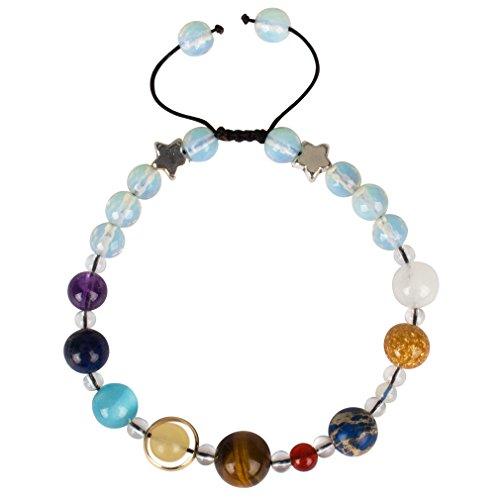 Casoty Solar System Bracelet The Nine Planets Star Guardian of Universe Handmade Stone Beads Bracelets