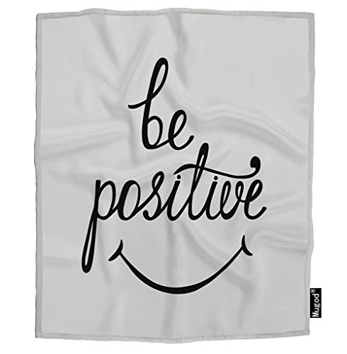 Mugod Be Positive Blanket Inspirational Quote About Happy Smile Boho Black White Fuzzy Soft Cozy Warm Flannel Throw Blankets for Adults Kids Women Men Girls Boys Bedroom 60x80 -