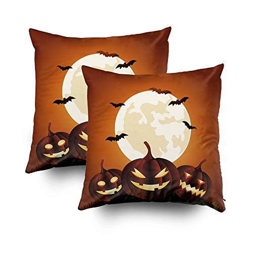 GROOTEY Decorative Cotton Square Set of 2 Pillow Case Covers with Zippered Closing for Home Sofa Decor Size 20X20Inch Costom Pillowcse Throw Cover Cushion,Halloween Party Background with Pumpkins]()