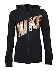 Women's Nike Club Graphic Full-Zip Fleece Hoodie (Charcoal Hyper Orange, Medium)