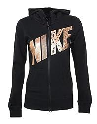 Women's Club Graphic Full-Zip Fleece Hoodie (Charcoal Hyper Orange, X-Small)