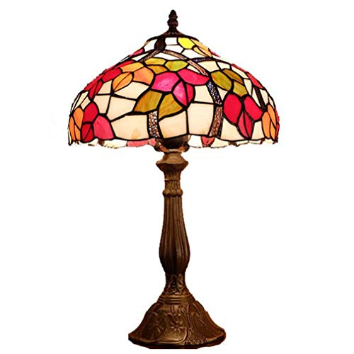 12-Inch Retro Tiffany Style Table Lamp, Stained Glass Red & Yellow Leaf Pattern Lampshade Table Light for Creative Living Room Bedroom Art Bedside Desk Lamp