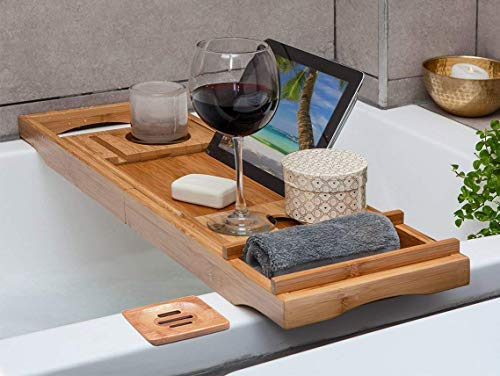 - OCENGS Luxury Bathtub Caddy Tray, Large Shower Bath Tray Organizer Accessories with Extending Sides, Reading Rack, Wine Glass, Tablet Holder and Phone Compartment, Bonus Soap Holder