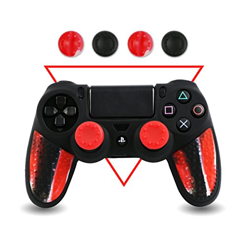 Silicone PS4 Controller Skin - BPA Free Protector Cover Case for Sony PlayStation 4 Controller with Matching Thumb Grips, 2 Sets Camouflage Red (Skin Set Case Silicone)