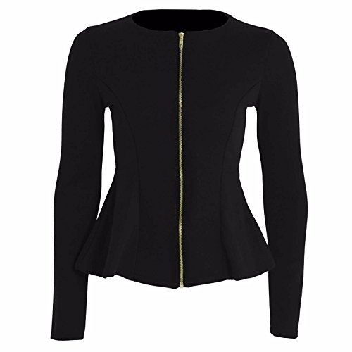 EU Long Blazer Black Femmes Tailored Islander Haut Blazer Fashions Sleeve Ruffle 36 Zip 54 Up Mesdames Peplum Veste 6wTFqzwR7