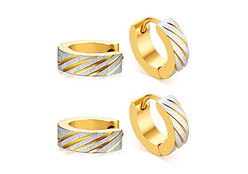 2 Pairs Gold Plated Stainless Steel Brushed Finish Small Hoop Huggie Earrings for Men (80s Biker Girl Costume)