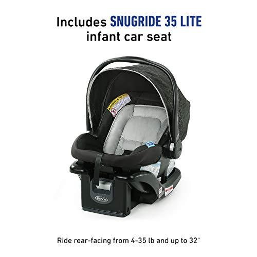 41fC2MSyWTL - Graco NimbleLite Travel System | Includes Lightweight Stroller And SnugRide 35 Lite Infant Car Seat, Parent Storage, Compact Fold | Lightweight Stroller Under 15 Pounds, Frisco