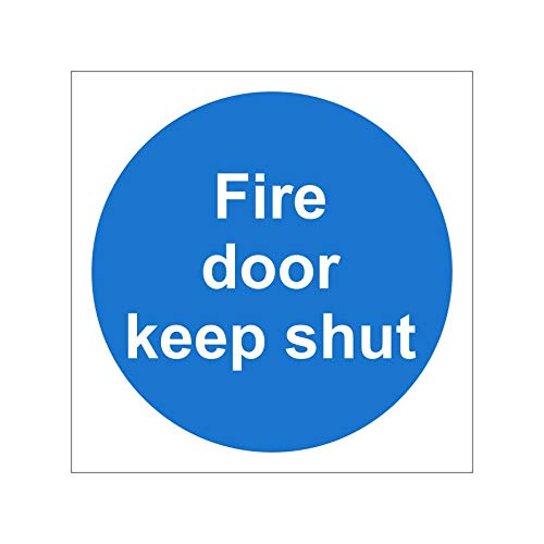 2 x Fire Door Keep Shut Signs 100mm x 100mm - Self Adhesive (MAD.01G-SA) UK Safety Store