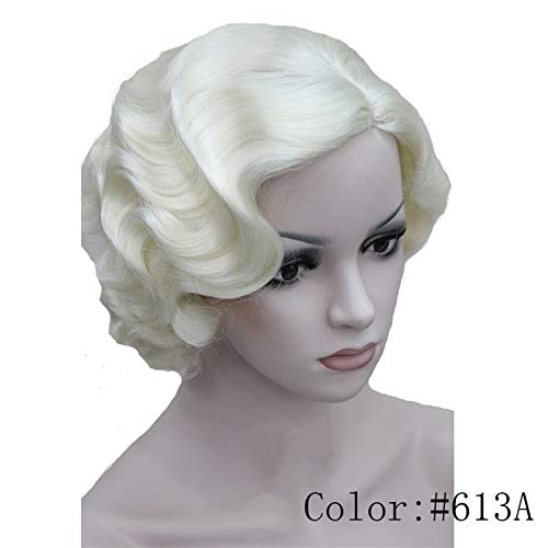 1920's Flapper Hairstyles for Women Finger Wave Wigs Retro Style Short Synthetic Wig,Platinum Blonde,8inches -